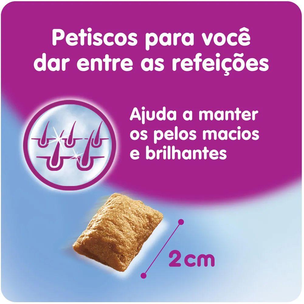 Combo 3 Petisco Whiskas Temptations Pelo saudável para Gatos Adultos - 40 g Potinho formato de rosto de gato