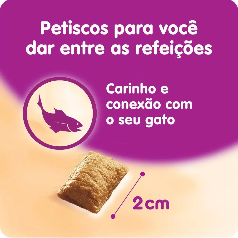 Combo 3 Petisco Whiskas Temptations Sabor Salmão para Gatos Adultos - 40 g Potinho formato de rosto de gato