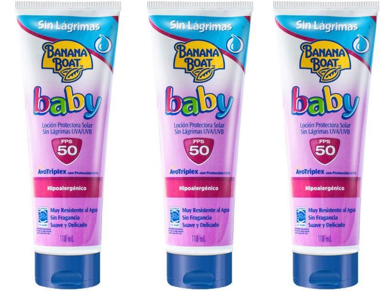 Combo 3 un Protetor Solar Banana Boat Loção Protetora Baby sem lágrimas FPS 50 - 118ml