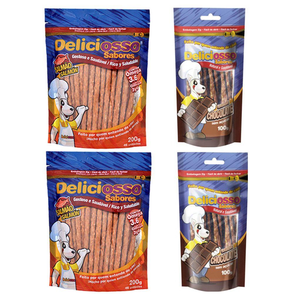 Combo 4 Pacotes Palito Ossinho Para Cães Deliciosso Palito Fino: 2 Salmão e 2 Chocolate