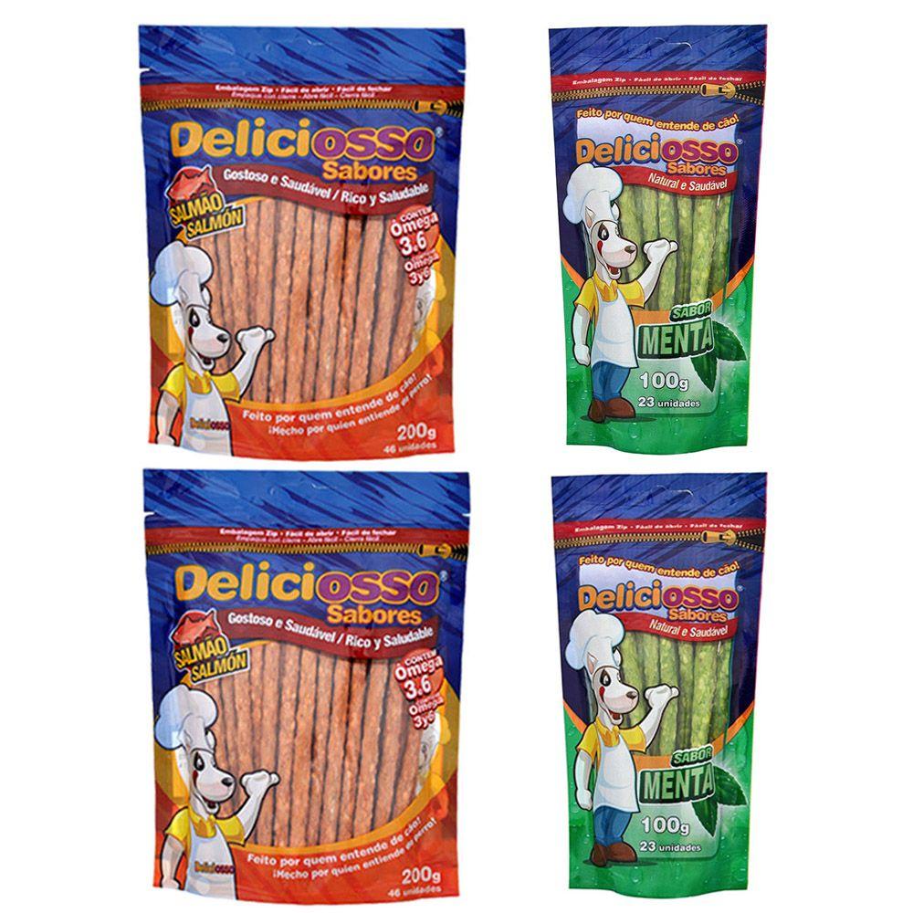 Combo 4 Pacotes Palito Ossinho Para Cães Deliciosso Palito Fino: 2 Salmão e 2 Menta
