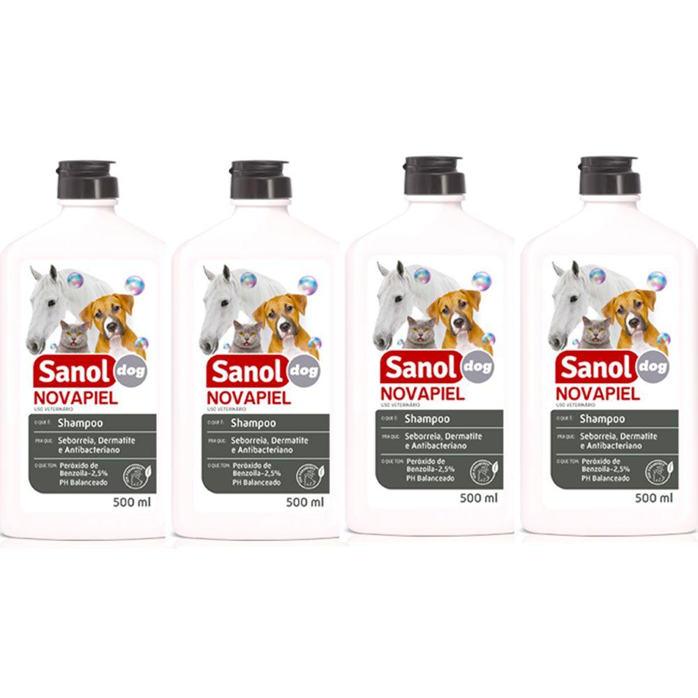 Combo 4un Shampoo de Alergias cães e gatos: Peróxido de Benzoila para Cachorro, Gato Bactericida Seborreico Novapiel