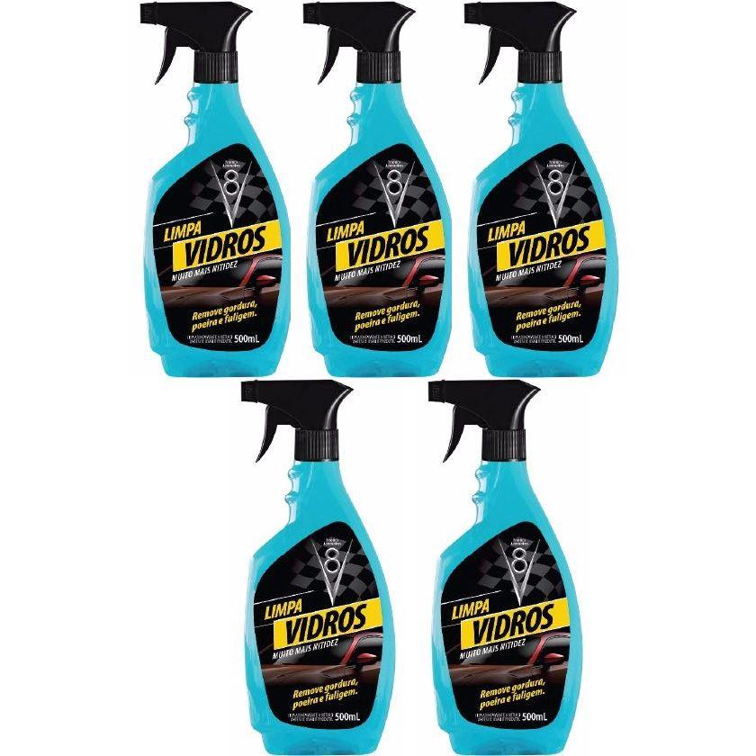 Combo 5 Limpa Vidros Spray gatilho Sanol V8 500ml - Muito mais Nitidez