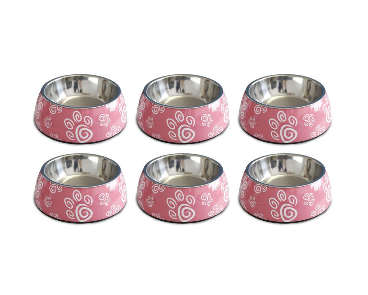 Combo 6 Comedouros para cães e gatos Melanox Pet Flex 250ml Rosa tam P