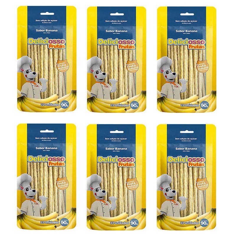 Ossinho para Cachorro Petisco Palito Fino Banana Deliciosso Frutas 90g Combo 6 unidades