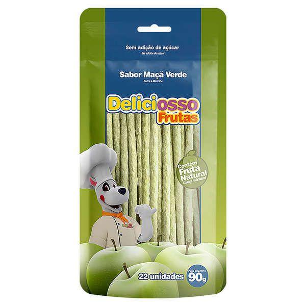 Combo 6  Unidades Petisco Para Cachorro Ossinho Palito Maçã Verde Deliciosso Frutas 90g