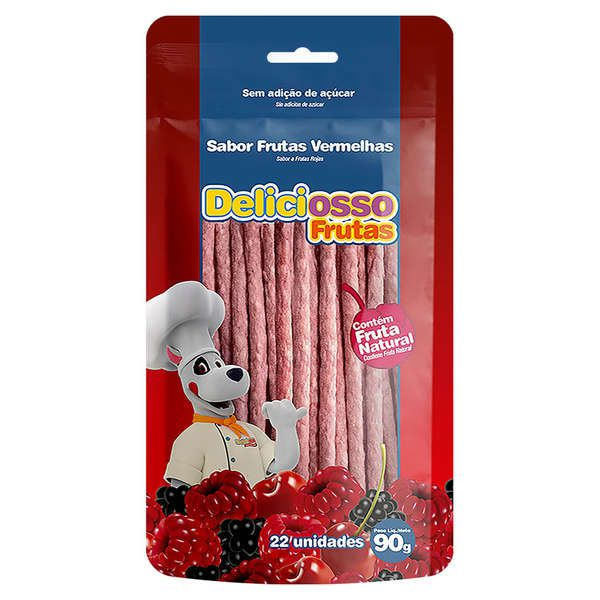 Combo 6 Unidades Petisco Para Cachorro Ossinho Palito Frutas Vermelhas Deliciosso Sabores Frutas 90g