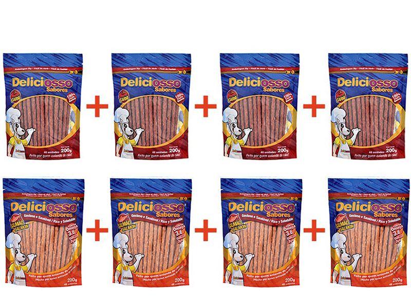 Combo 8 Unidades Petisco Para Cachorro Ossinho Palito Deliciosso: 4 Sabor Carne + 4 Sabor Salmão 200g cada
