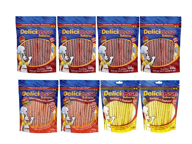 Combo 8 Unidades Petisco Para Cachorro Ossinho Palito Deliciosso Sabores: 4 unidades Carne, 2 Frango, 2 Salmão