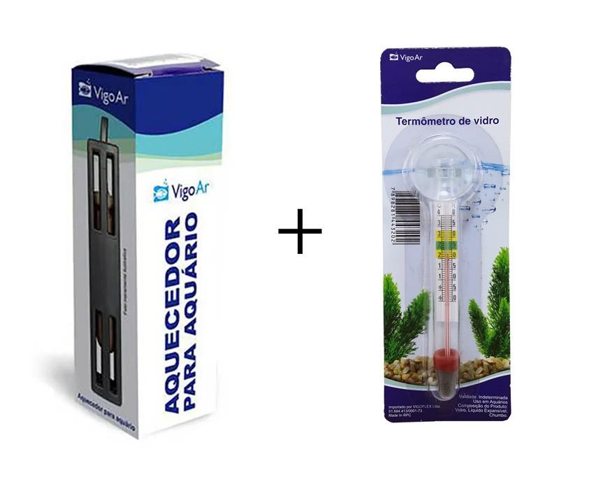 Combo Aquecedor de Aquário 2,5w  (Aquece de 1,5 a 2,5 litros) 127v + termômetro para Aquário Vigoar
