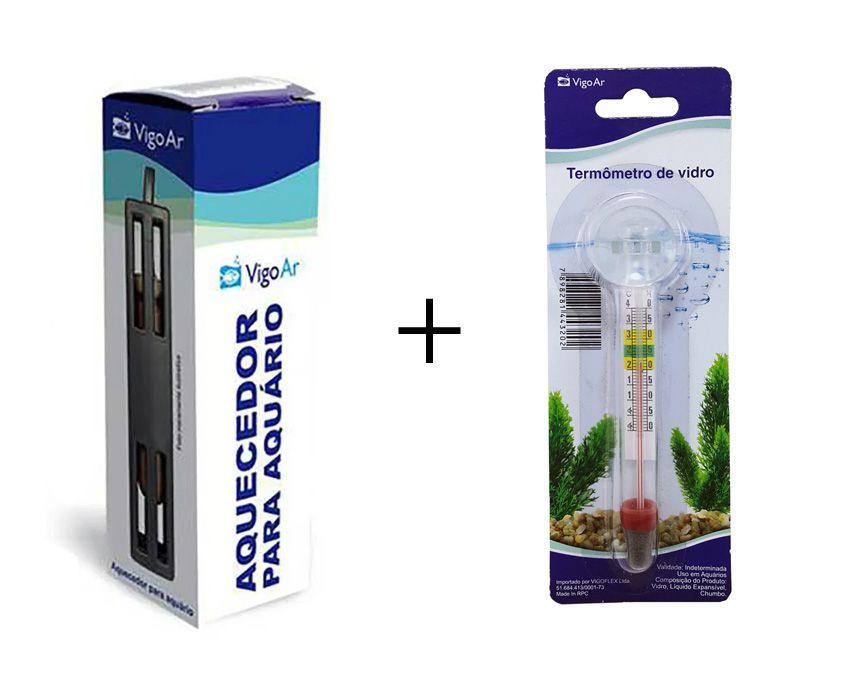 Combo Aquecedor de Aquário (Aquece 7 a 10L) + termômetro para Aquário 10w 7 a 10 litros 127v Vigoar