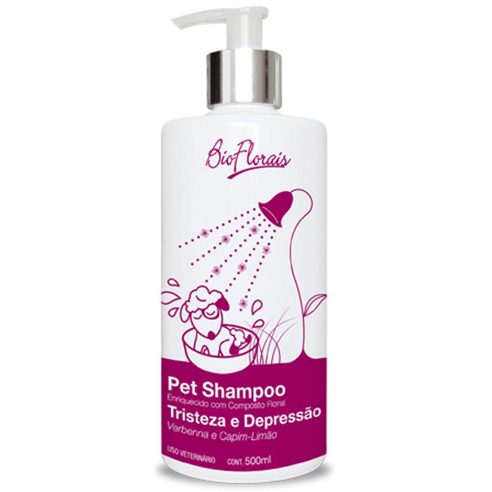Combo Banho cães tratamento floral para cachorro: Kit Shampoo, Condicionador e Perfume veterinário Tristeza e Depressão Bioflorais Pet