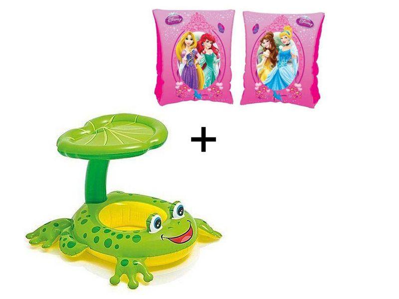 Combo Boia De Piscina Para Criança Bote Sapinho Com Sombrero Suporta Até 11kg + Boia de braço Princesas