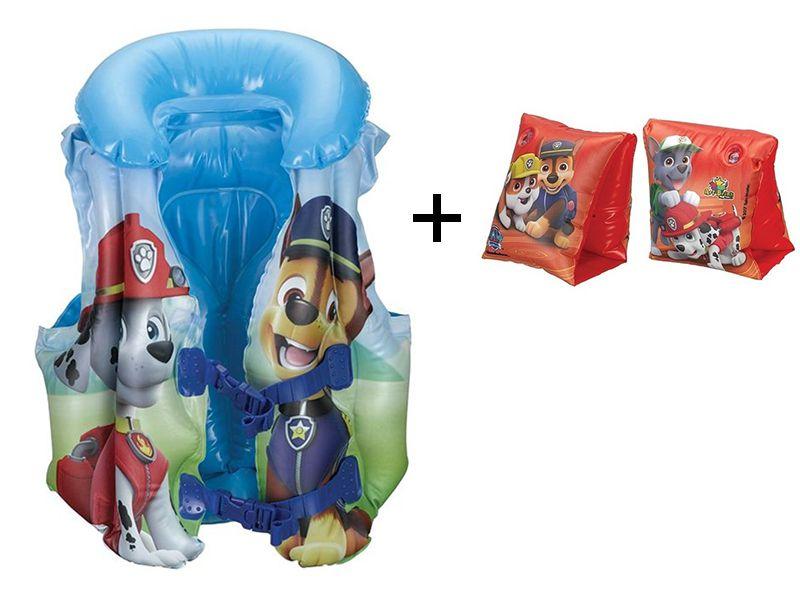Combo Boia De Piscina Para Criança: Colete inflável Patrulha canina + Boia de braço Patrulha Canina