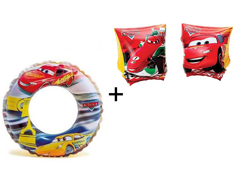 Combo: Boia Inflável Infantil redonda 51cm + Par de boia de braço 23X15cm Carros Disney Intex