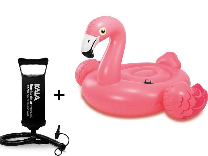 Combo Boia Inflável para piscina Flamingo Rosa Intex 57558 (Boia das Blogueiras Famosas) + Bomba de Ar Kala