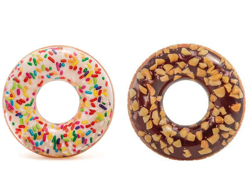 Combo Boias divertidas para piscina: Boia inflável Donut Colorida Granulado + Donut Chocolate crocante Intex 1,14m