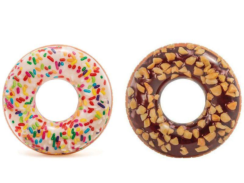 Combo Boias divertidas para piscina: Boia inflável Donut Colorida Granulado + Donut Chocolate crocante Intex 99cm