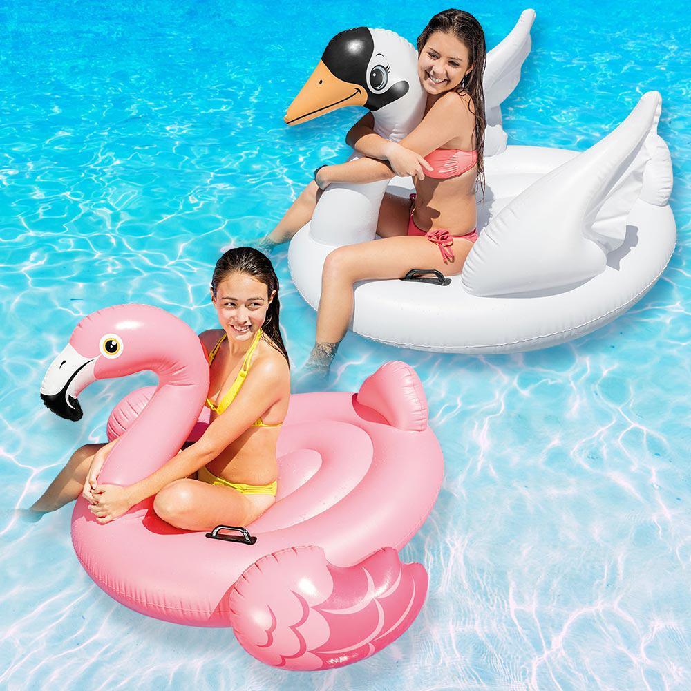 Combo Boias Infláveis para piscina Verão 2021: Boia Cisne Branco Intex e Boia Flamingo Rosa (130x102x99cm) Blogueiras Famosas
