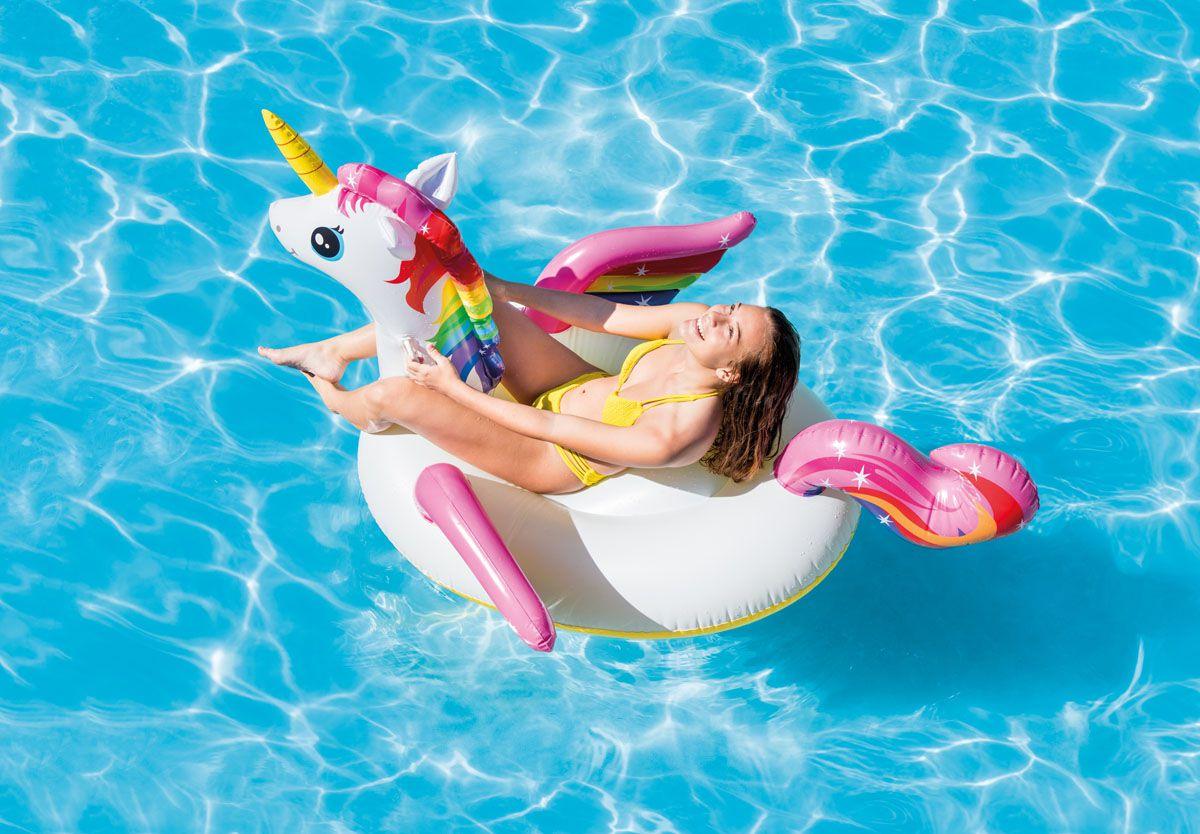 Combo Boias Infláveis para piscina Verão 2019: Unicórnio (2,01m x 1,40m x 97cm) e Flamingo Rosa (1,30mx1,02mx99cm) Blogueiras Famosas