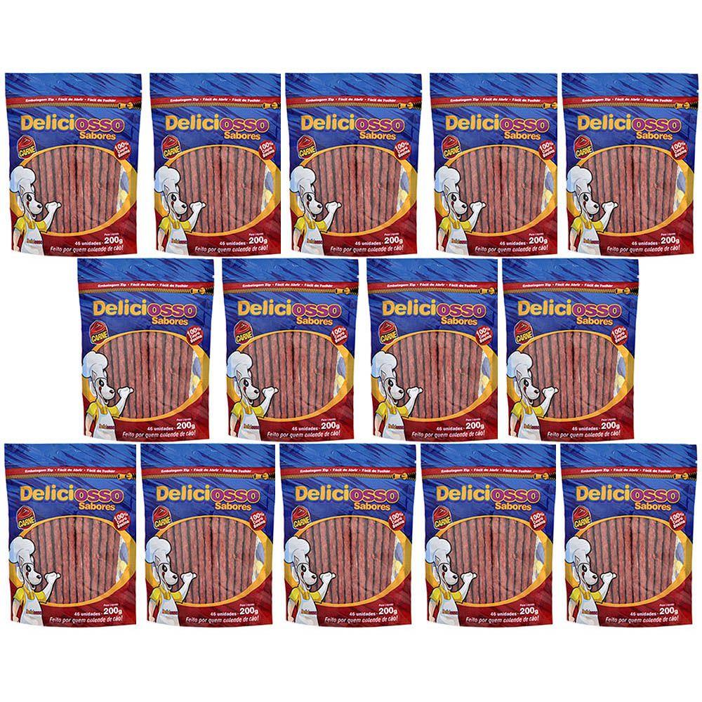 Combo Petisco Palitinho Ossinho Para Cães Deliciosso Palito Natural Fino Carne- 14 Pacotes de 200g cada
