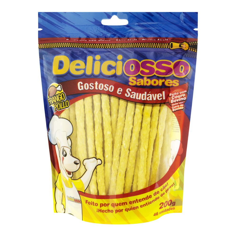 Combo Petisco Palitinho Ossinho Para Cães Deliciosso Palito Natural Fino Frango - 14 Pacotes de 200g cada