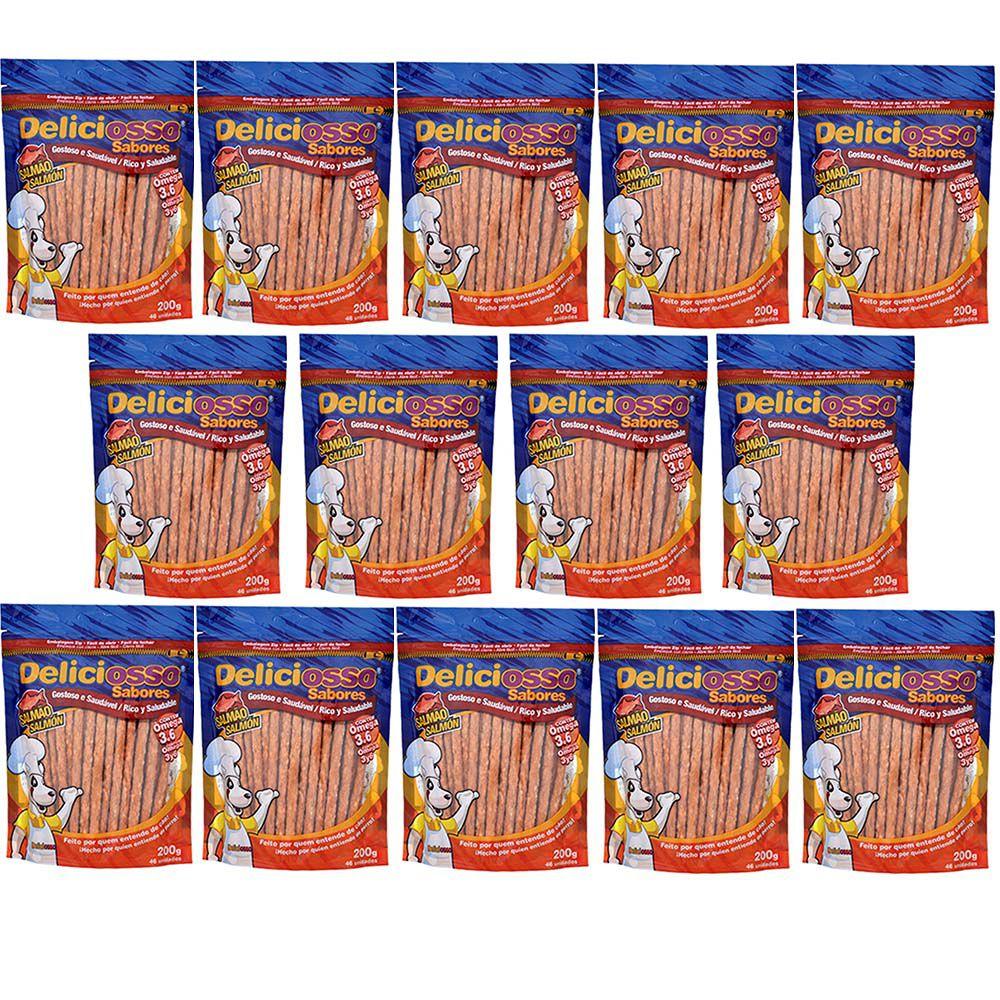 Combo Petisco Palitinho Ossinho Para Cães Deliciosso Palito Natural Fino Salmão - 14 Pacotes de 200g cada