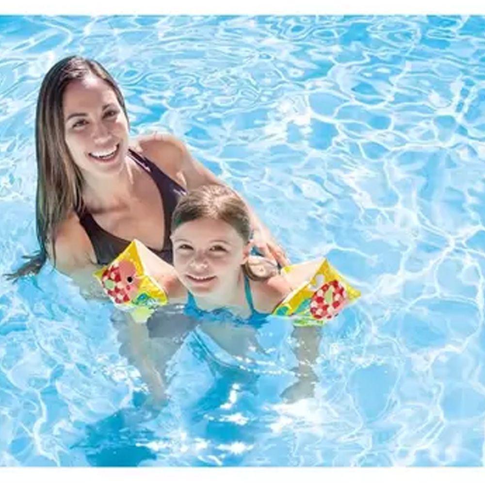 Combo com 10 pares de Boia de Braço inflável para crianças 3 a 6 anos Deluxe até 25kg 23x15cm Intex 58652