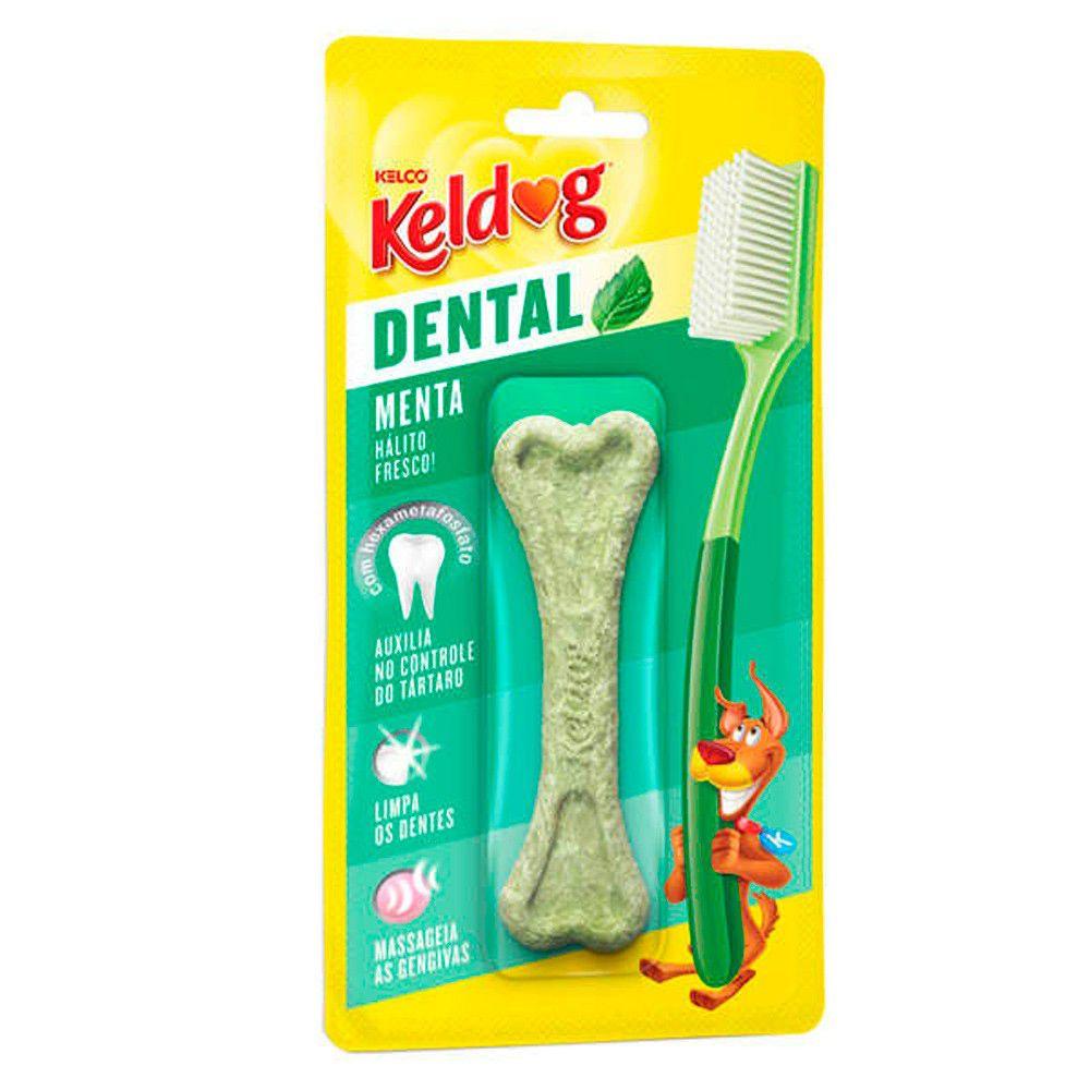 Combo com 5 Ossinho para cachorro Keldog Dental Menta - Osso cães controle de tártaro, hálito e higiene Bucal