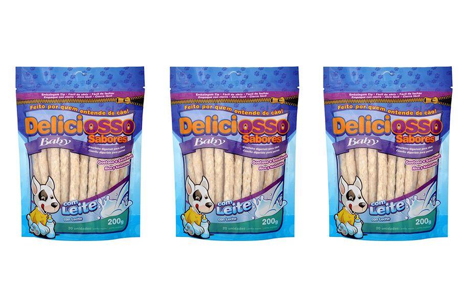 Combo de Ossinhos Para Cães Filhotes: 3 Pacotes Osso Palito Baby Leite Deliciosso 200g