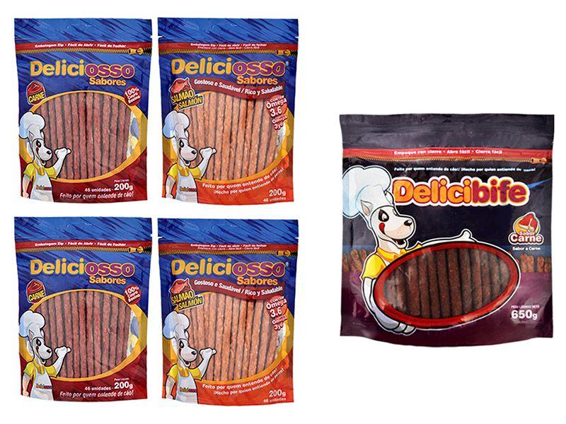Combo De ossinhos Petisco para Cães Deliciosso: 2 Ossinhos Palito Carne, 2 Ossinhos Palito Salmão, 1 Bifinho Palito Delicibife Carne 650g