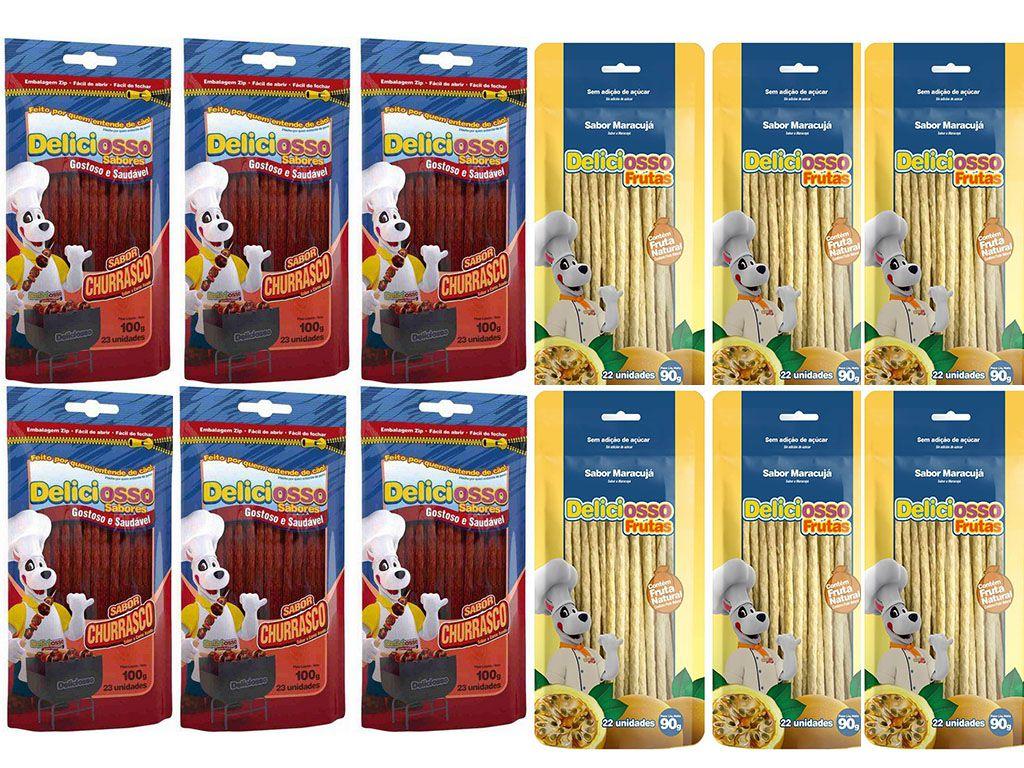 Combo Deliciosso Palito fino Ossinho para Cães: 6 Sabor Churrasco, 6 Sabor maracujá - 12 pacotes de palitinho para cachorro