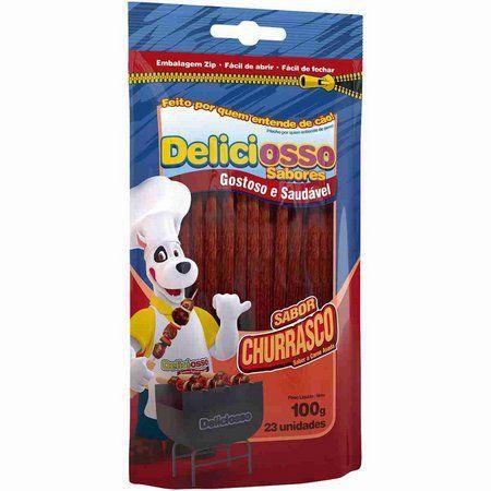 Combo Deliciosso Palito fino Ossinho para Cães: 6 Sabor Churrasco, 6 Sabor Menta - 12 pacotes de palitinho para cachorro