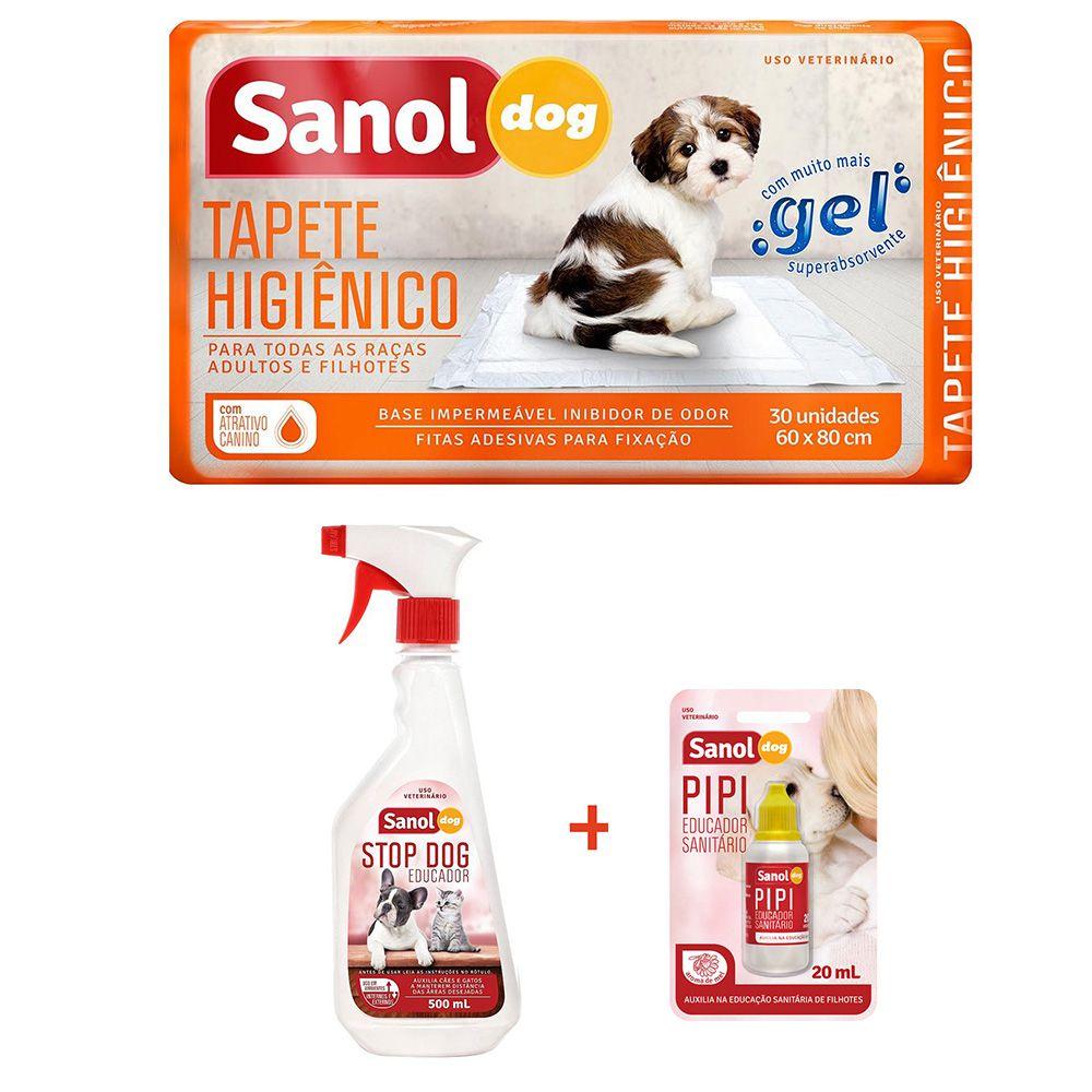 Combo para cachorros - tapete higienico com adestrador canino Stop xixi com Aatratitvo Xixi Sim - Tapete tipo fralda descartável, Xixi não e Xixi Sim Sanol