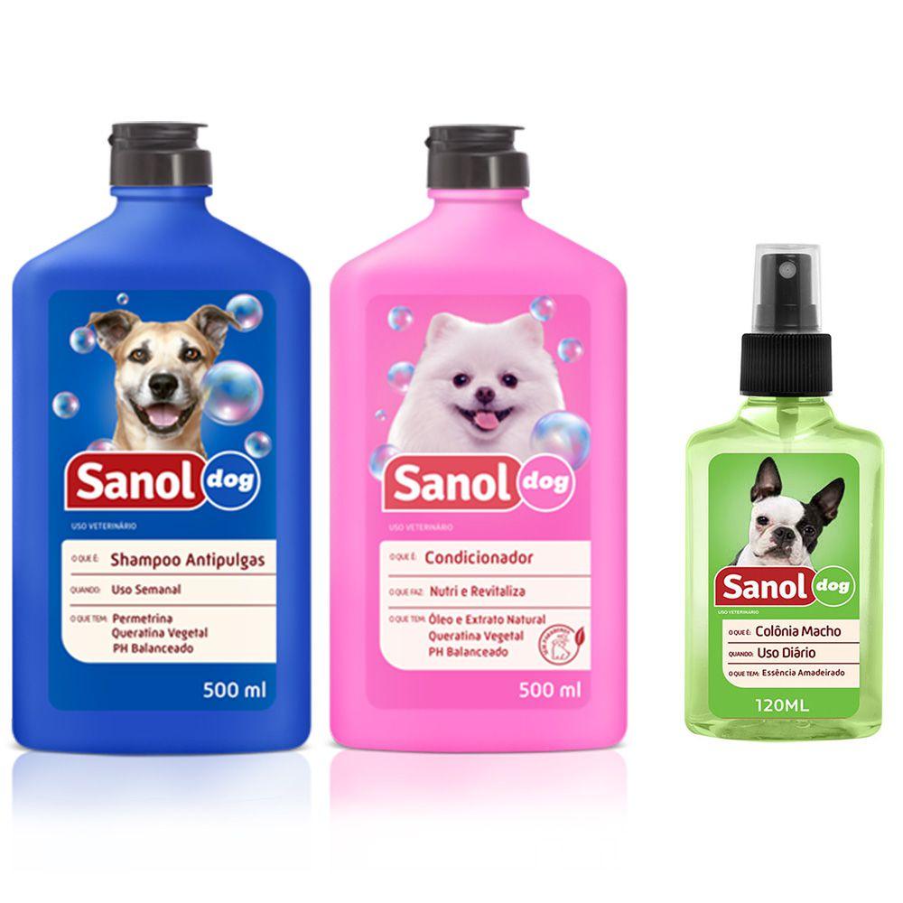 Combo kit Banho cachorros: Shampoo Antipulgas, Condicionador Revitalizante e colônia cítrico