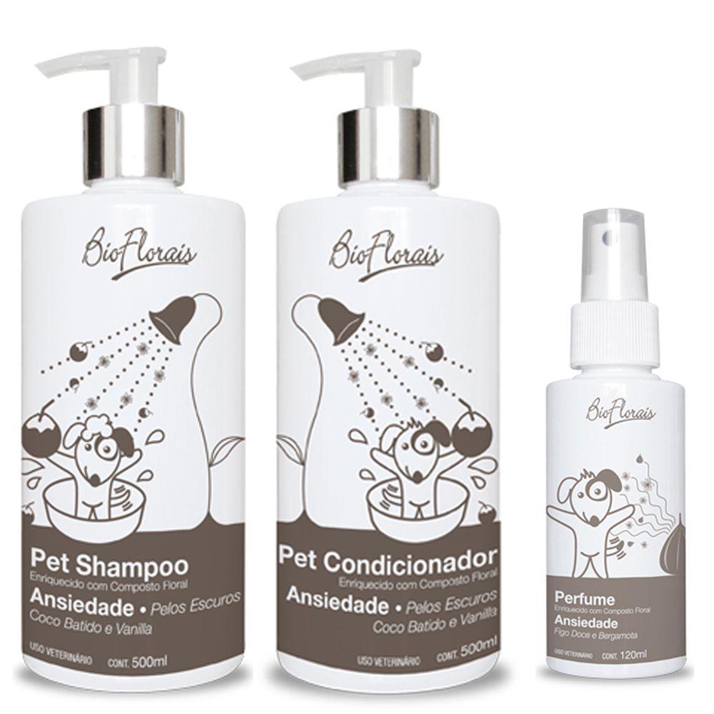 Combo Kit banho para cachorro Tratamento Ansiedade Pelos escuros: Shampoo Condicionador e Perfume Bioflorais