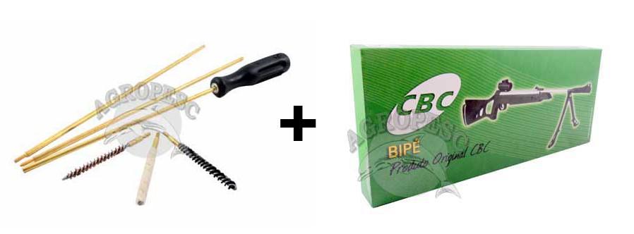 Combo Kit De Limpeza Cbc Para Carabina 5,5mm + Bipé Cbc