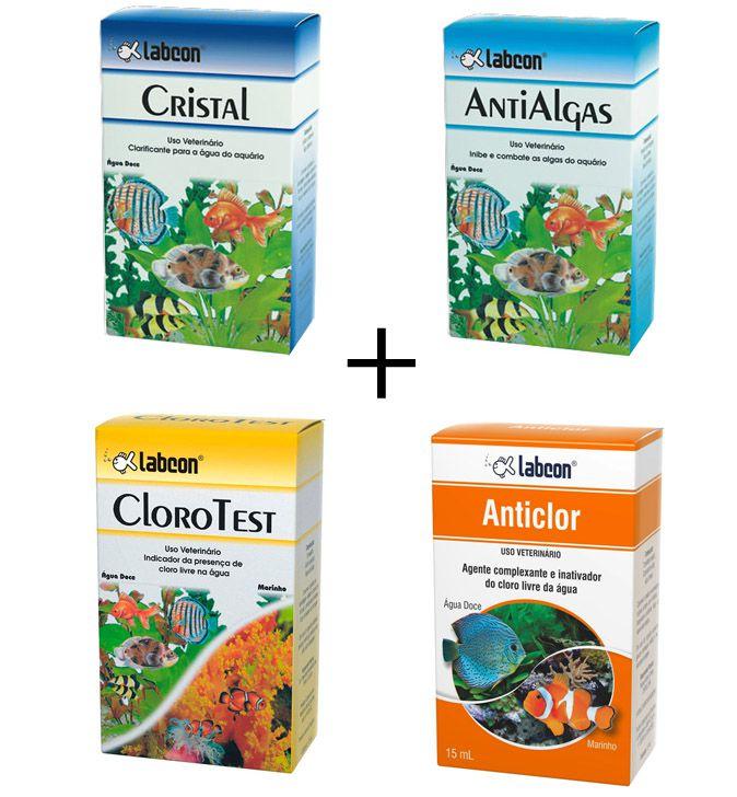 Combo Labcon Teste de cloro + AntiClor + Anti Algas Labcon + Cristal Labcon