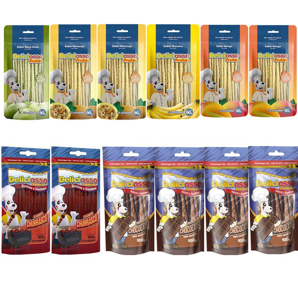 Combo Ossinhos petisco para Cachorro Palito Fino Deliciosso Sabores: 4 Chocolate, 2 Churrasco, 2 Maracujá, 2 Manga, 1 Maçã Verde, 1 Banana