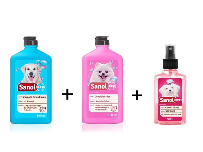 Combo: Shampoo para Cães Pelos Claros + Condicionador Revitalizante + Perfume colônia Femea Sanol Dog