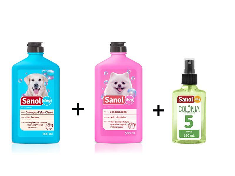 Combo: Shampoo para Cães Pelos Claros + Condicionador Revitalizante + Perfume para cães Fragrância Citrus - Sanol Dog