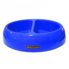 Comedouro + Bebedouro Duplo bistrô para cães e gatos PetFlex 650ml cada compartimento Azul
