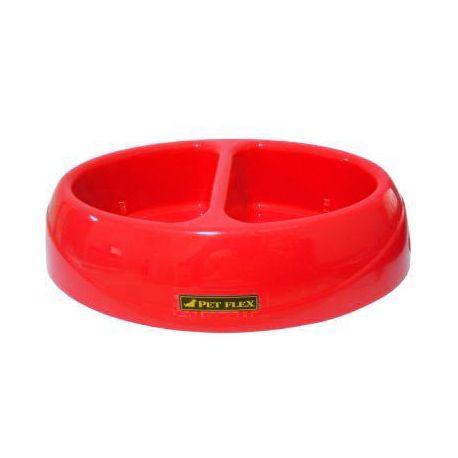 Comedouro + Bebedouro Duplo bistrô para cães e gatos PetFlex 650ml cada compartimento Vermelho