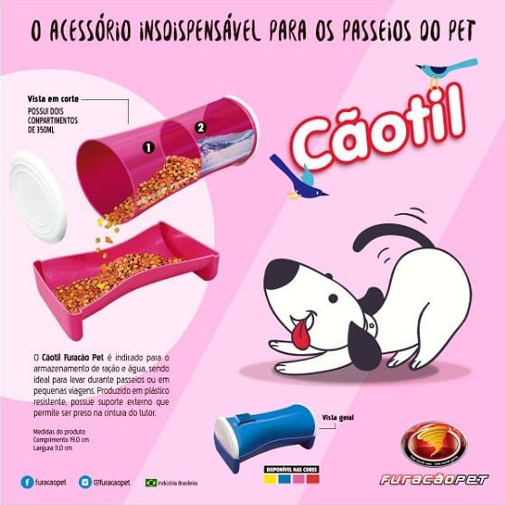 Comedouro Bebedouro para cães e gatos para passeios viagem Portátil Cãotil Furacão Pet