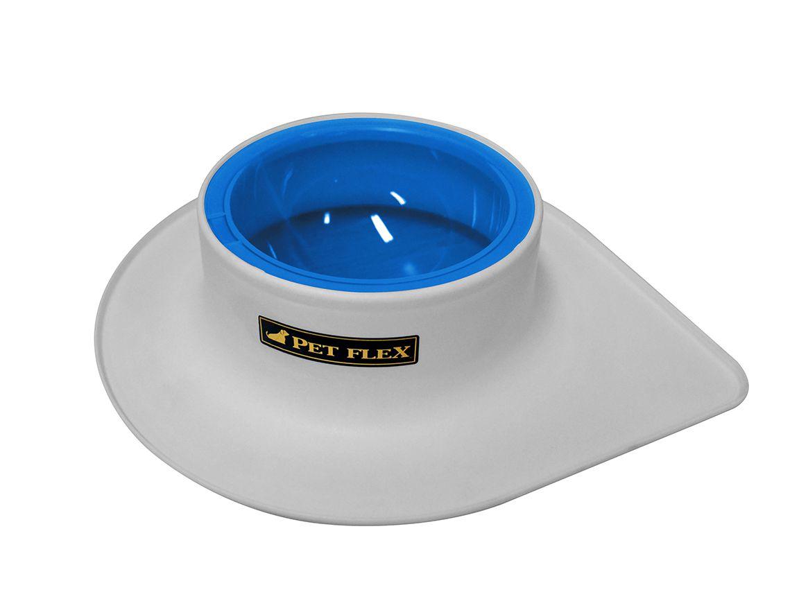 Comedouro ou Bebedouro para cães e gatos com tigela removível e base antiderrapante Branco/Azul 250ml gourmet pet flex