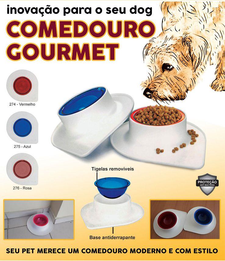 Comedouro ou Bebedouro para cães e gatos com tigela removível e base antiderrapante Branco e Rosal 250ml gourmet pet flex