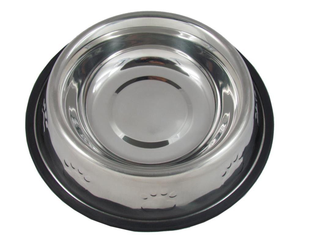 Comedouro Inox Patas Alto Relevo 240ml para Cães Filhotes e Gatos (10cm)