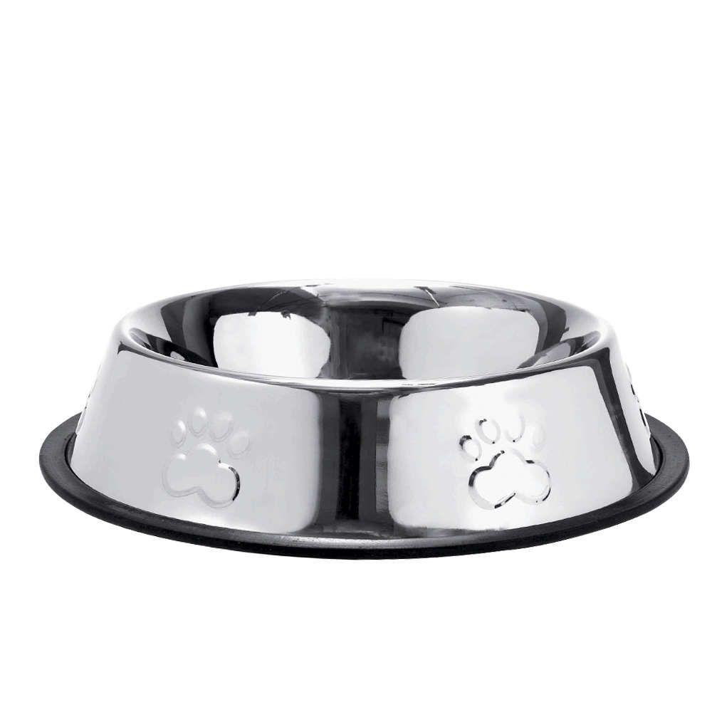 Comedouro Inox Patas Alto Relevo 480ml para Cães e Gatos