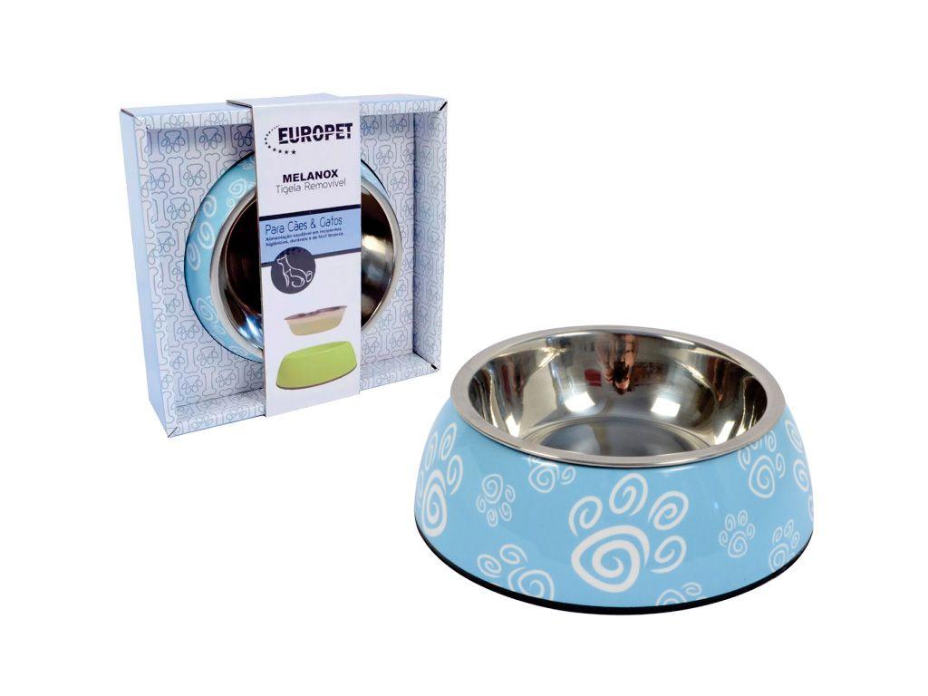 Comedouro para cães e gatos em inox e melamina Melanox Pet Flex 250ml Azul Tam P