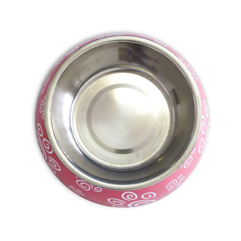 Comedouro para cães e gatos em inox e melamina Melanox Pet Flex 250ml Rosa tam P